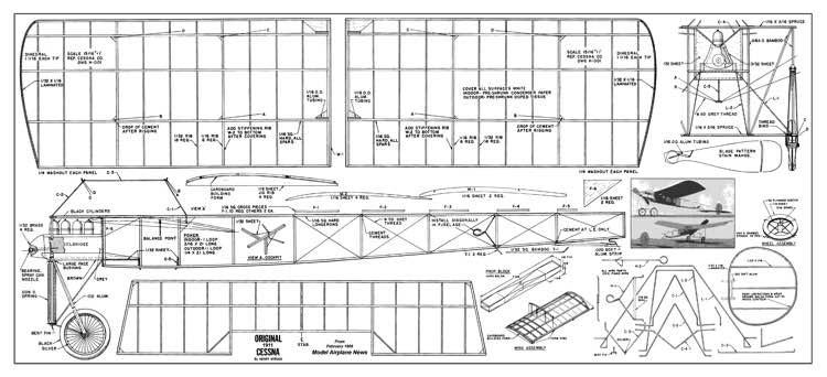 Cessna 1911 wingspan 23.75in model airplane plan