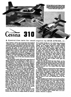 Cessna 310 2 model airplane plan