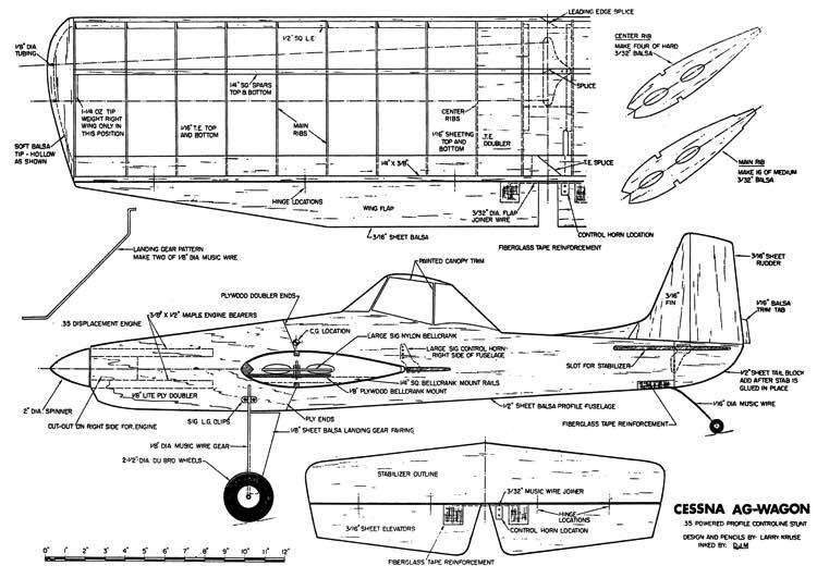 Cessna 188 AgWagon Profile CL model airplane plan