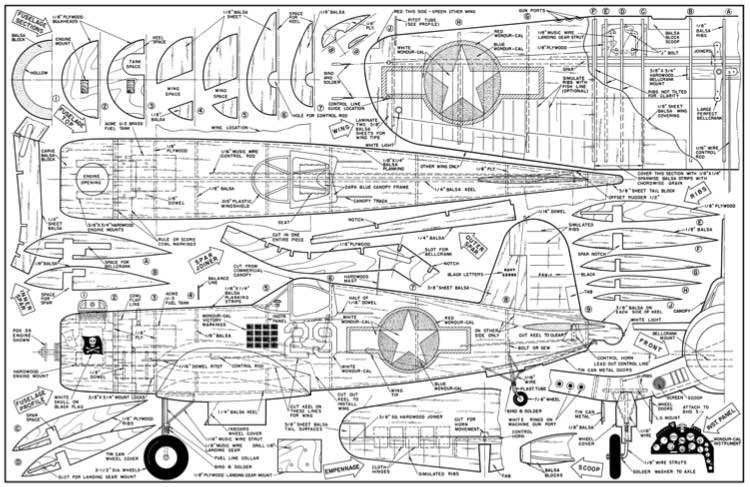 Chance Vought F4U-1a Corsair-AM-11-63 model airplane plan