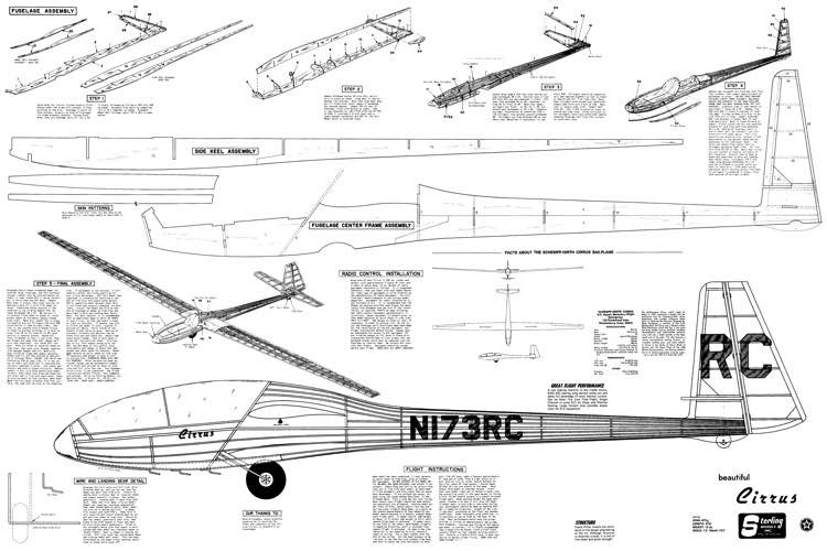 Cirrus-glider model airplane plan