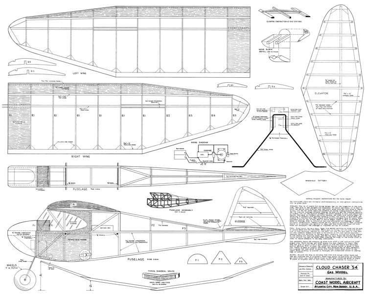 Cloud Chaser 54in model airplane plan