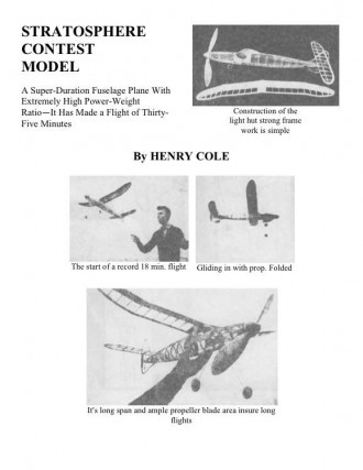 Cole Stratosphere model airplane plan
