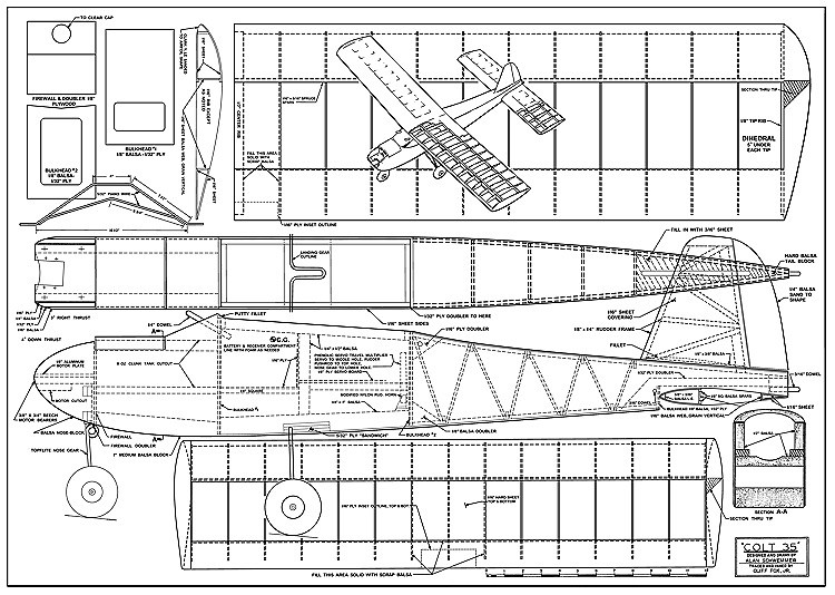 Colt 35 model airplane plan