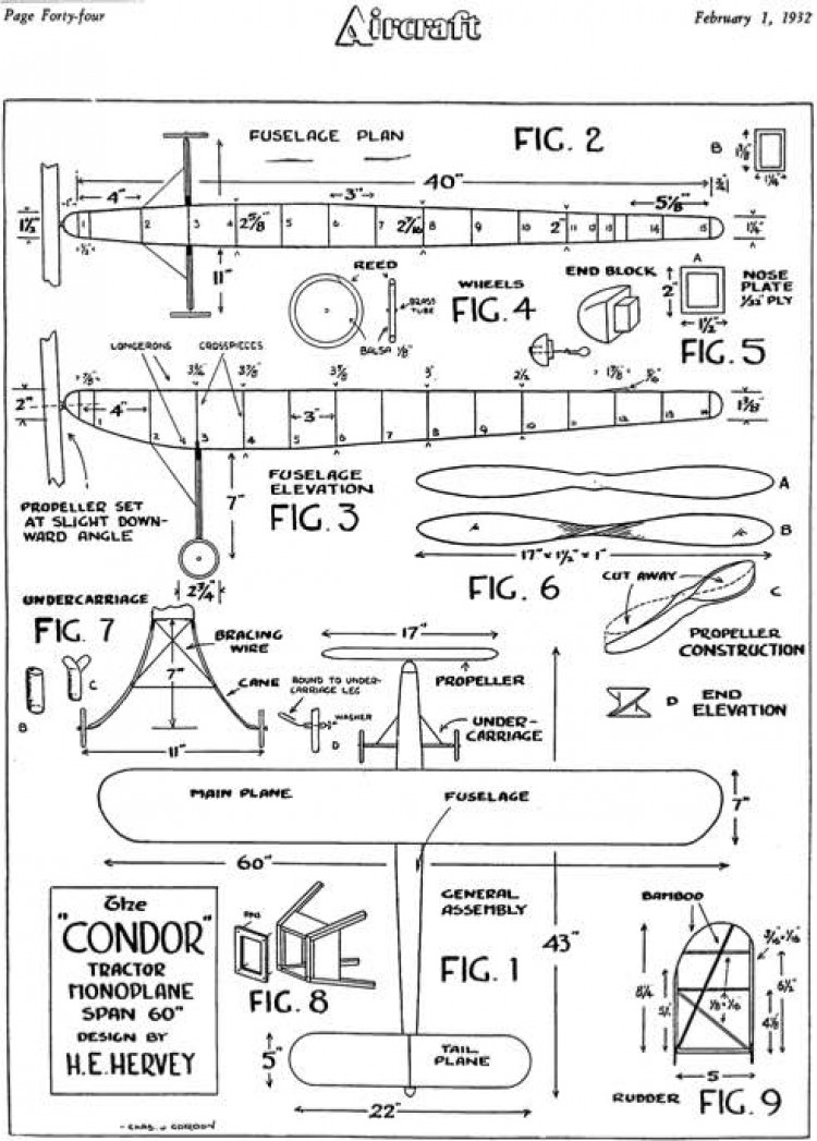 Condor 60in model airplane plan