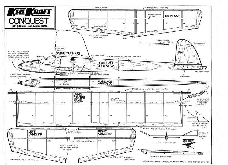 Conquest model airplane plan