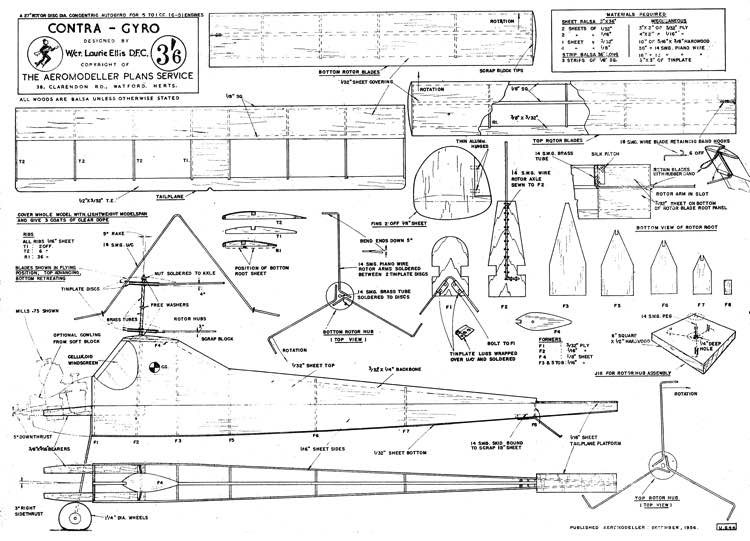 Contra-Gyro model airplane plan