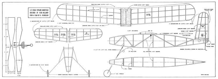 Copland Wakefield  1/2 scale. model airplane plan