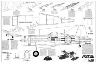 Chance Vought F4U-1a Corsair model airplane plan