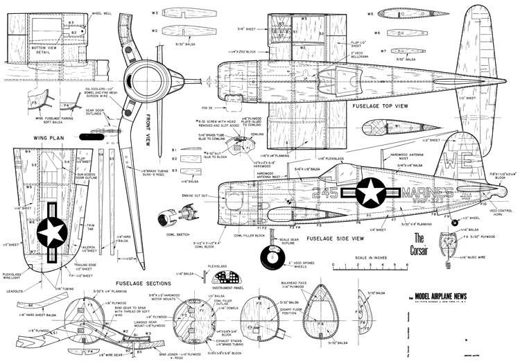 The Corsair model airplane plan