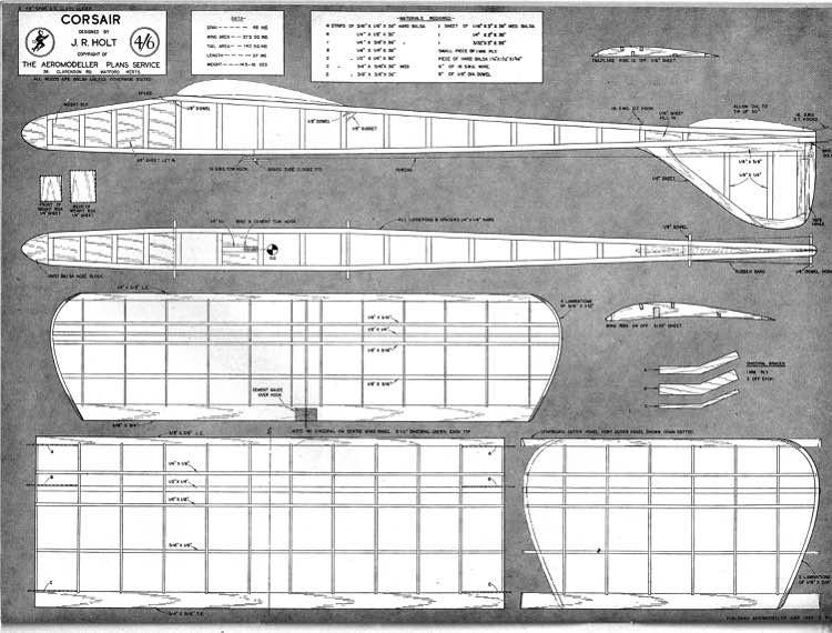 Corsair glider 48in model airplane plan