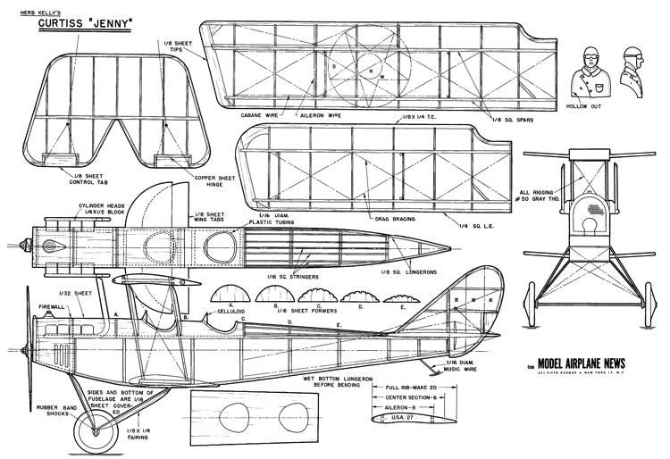 "Curtiss JN4 ""Jenny"" model airplane plan"