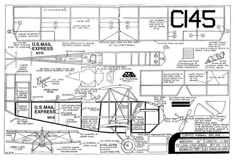 Curtiss Airmail Biplane model airplane plan