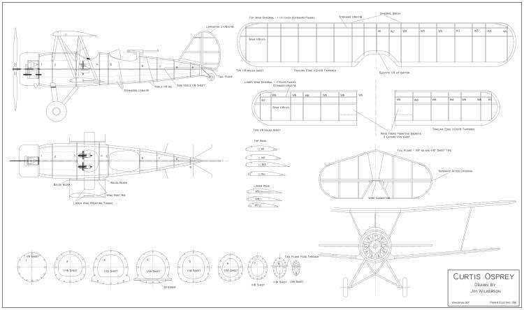Curtiss Osprey 30in model airplane plan