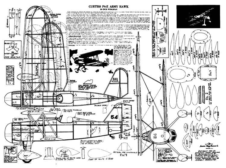 Curtiss P6-E Army Hawk model airplane plan