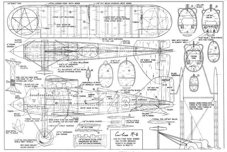 Curtiss R6 model airplane plan