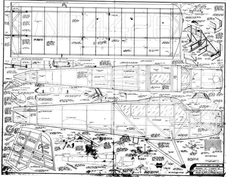 Curtiss Robin 72in model airplane plan