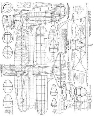 Curtiss SBC-3 Helldiver model airplane plan