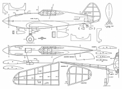 Curtiss XP-40 20in model airplane plan