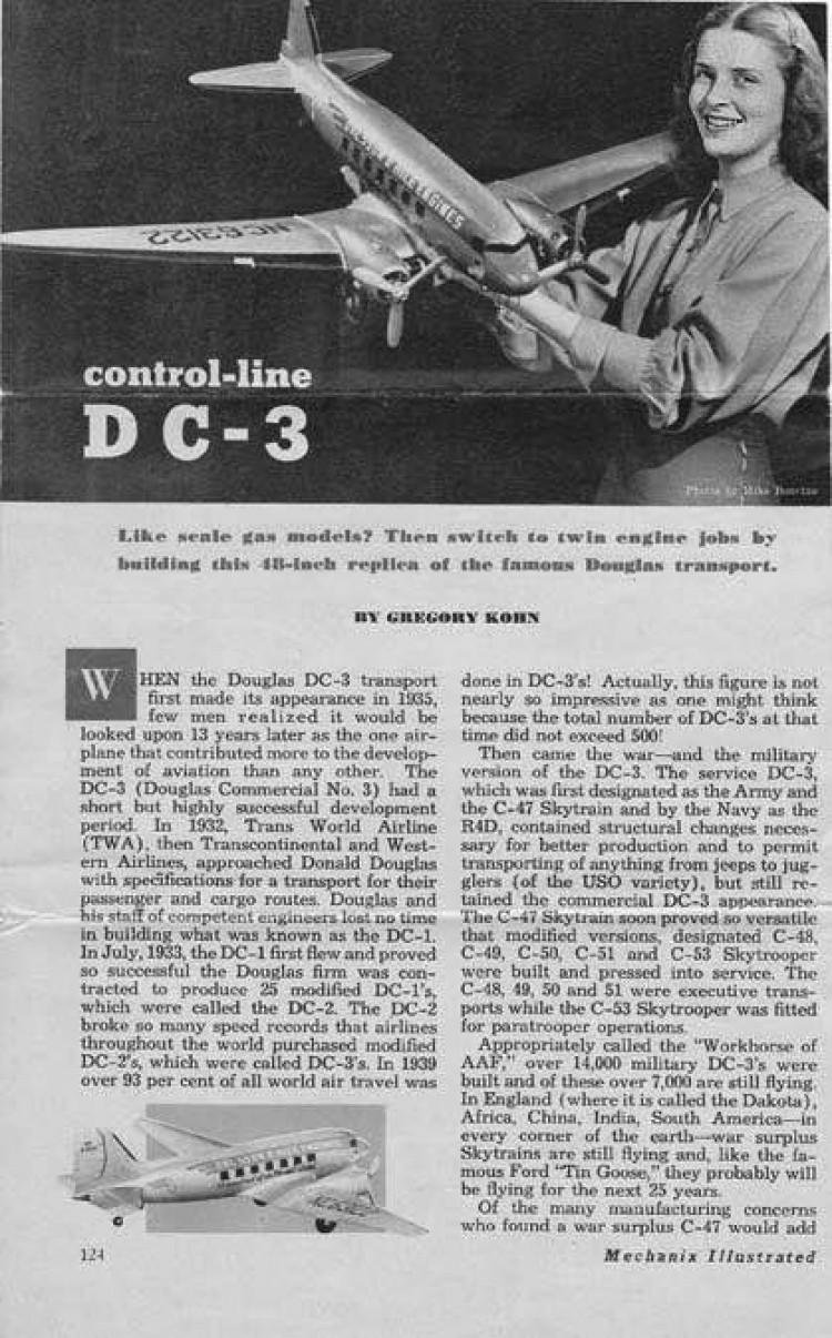 DC3 model airplane plan