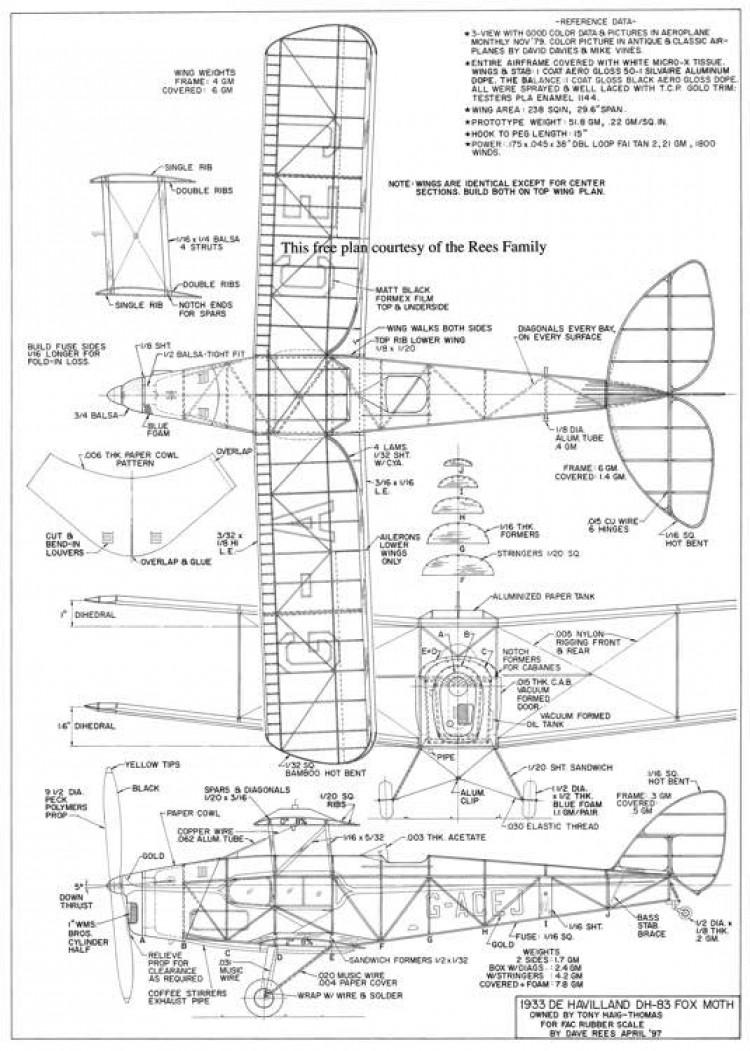 DH-83 Fox Moth model airplane plan