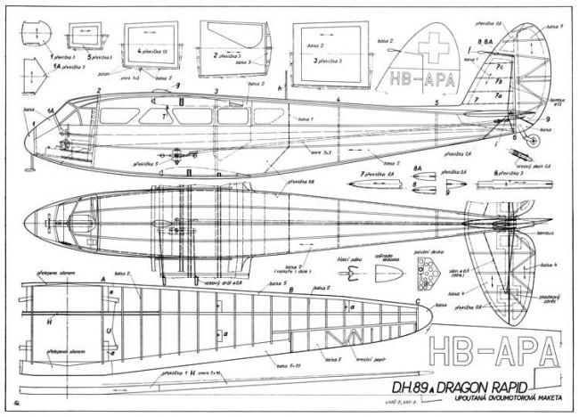 DH-89A Dragon Rapide model airplane plan