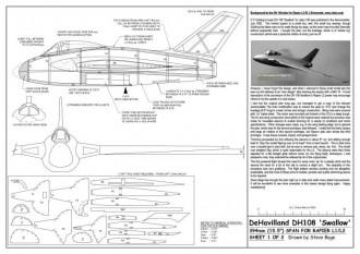 DH108 Swallow A3 model airplane plan