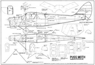 DeHavilland DH80-A Puss Moth model airplane plan