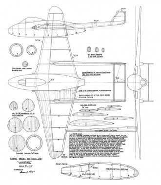 De Havilland Vampire model airplane plan