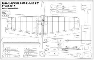 "27"" dlg\slope glider model airplane plan"