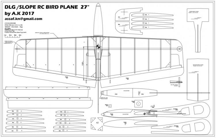 "27"" dlg\slope glider model airplane plan"