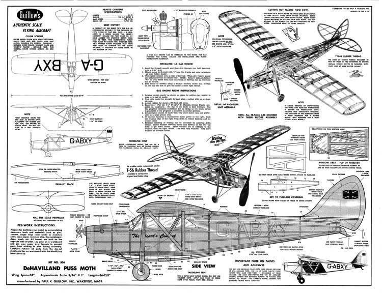 DeHavilland 80A Puss Moth model airplane plan