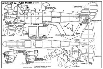 DeHavilland DH82 Tiger Moth model airplane plan