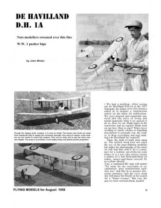 DeHavilland DH 1A model airplane plan