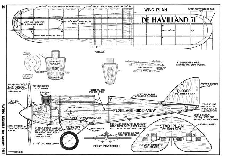 De Havilland 71-FM-08-54 model airplane plan