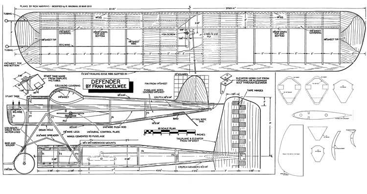 Defender CL model airplane plan