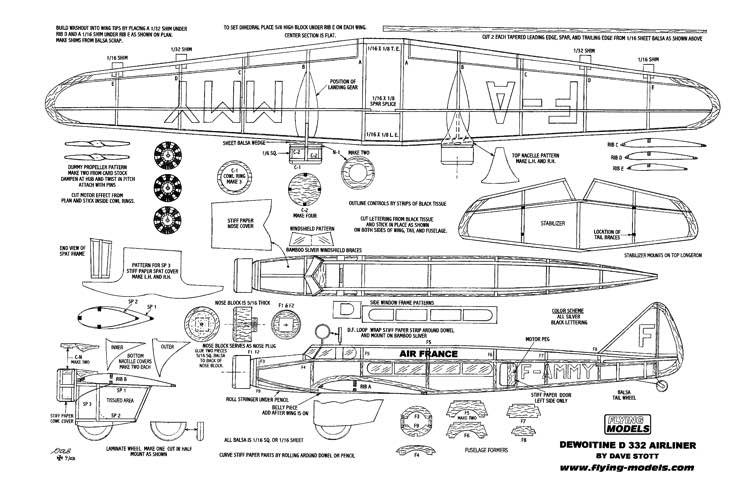 Dewoitine1 model airplane plan