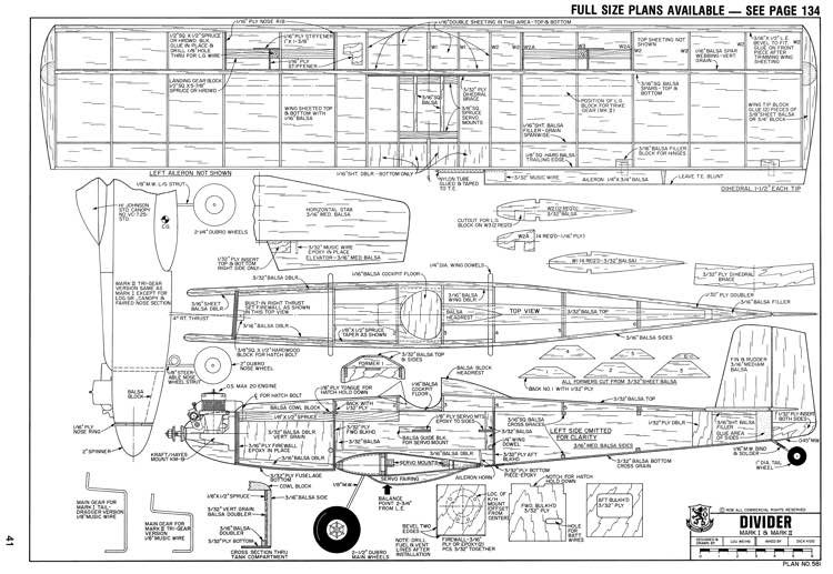 Divider Mk I Mk 2-RCM-12-74 model airplane plan