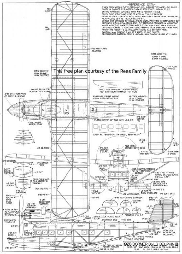 Dornier DoL3 Delphin III model airplane plan