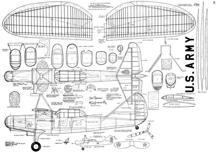 Douglas-O-43A model airplane plan