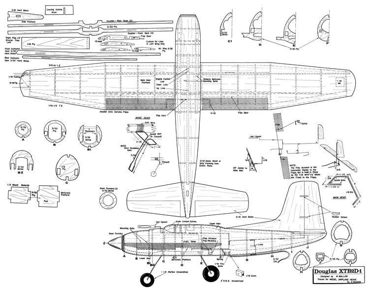 DouglasXTB2D-1 Skypirate-MAN-02-66 model airplane plan
