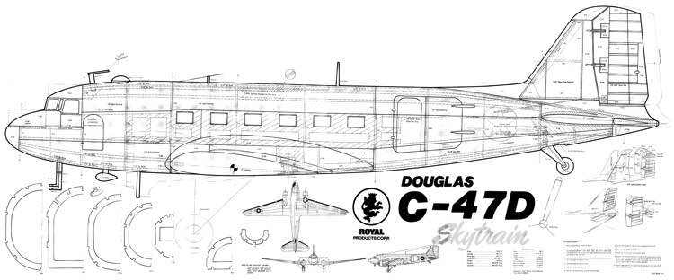 Douglas C-47D Skytrain model airplane plan