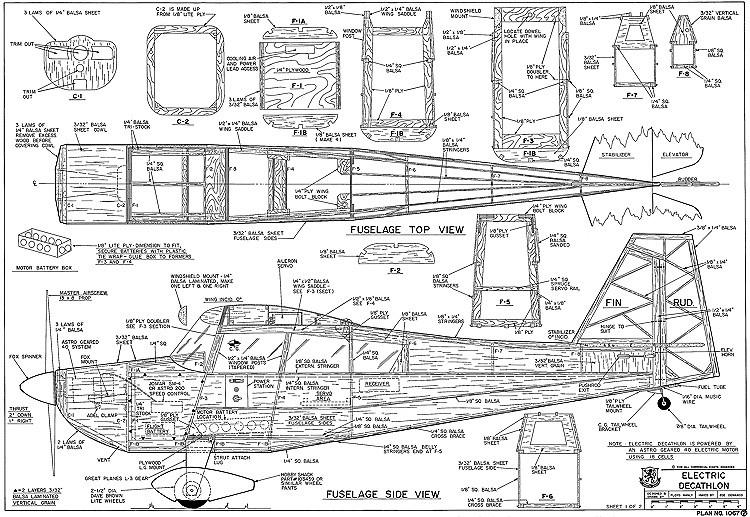 Electric Decathlon RCM-1067 model airplane plan