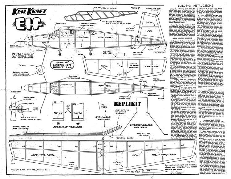 Keil Kraft Elf model airplane plan