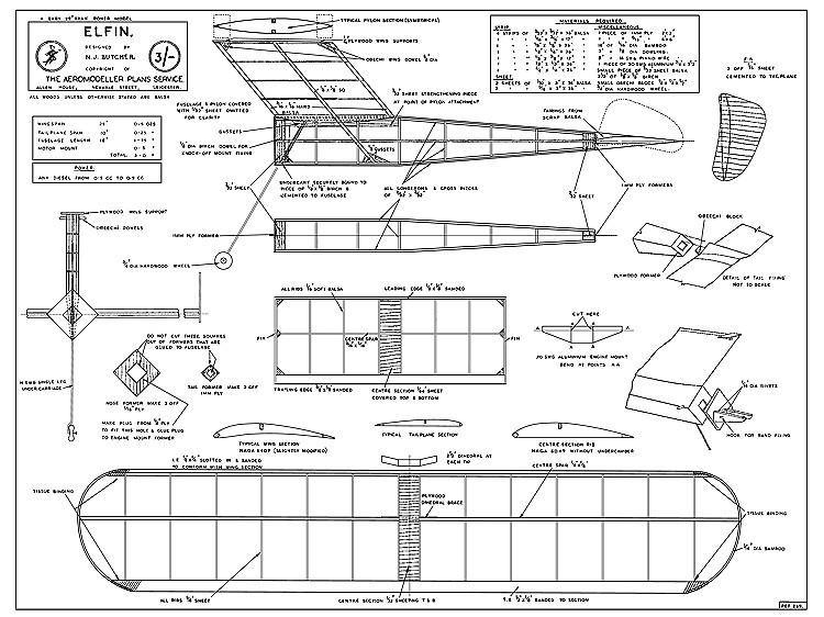 Elfin MkII cleaned model airplane plan
