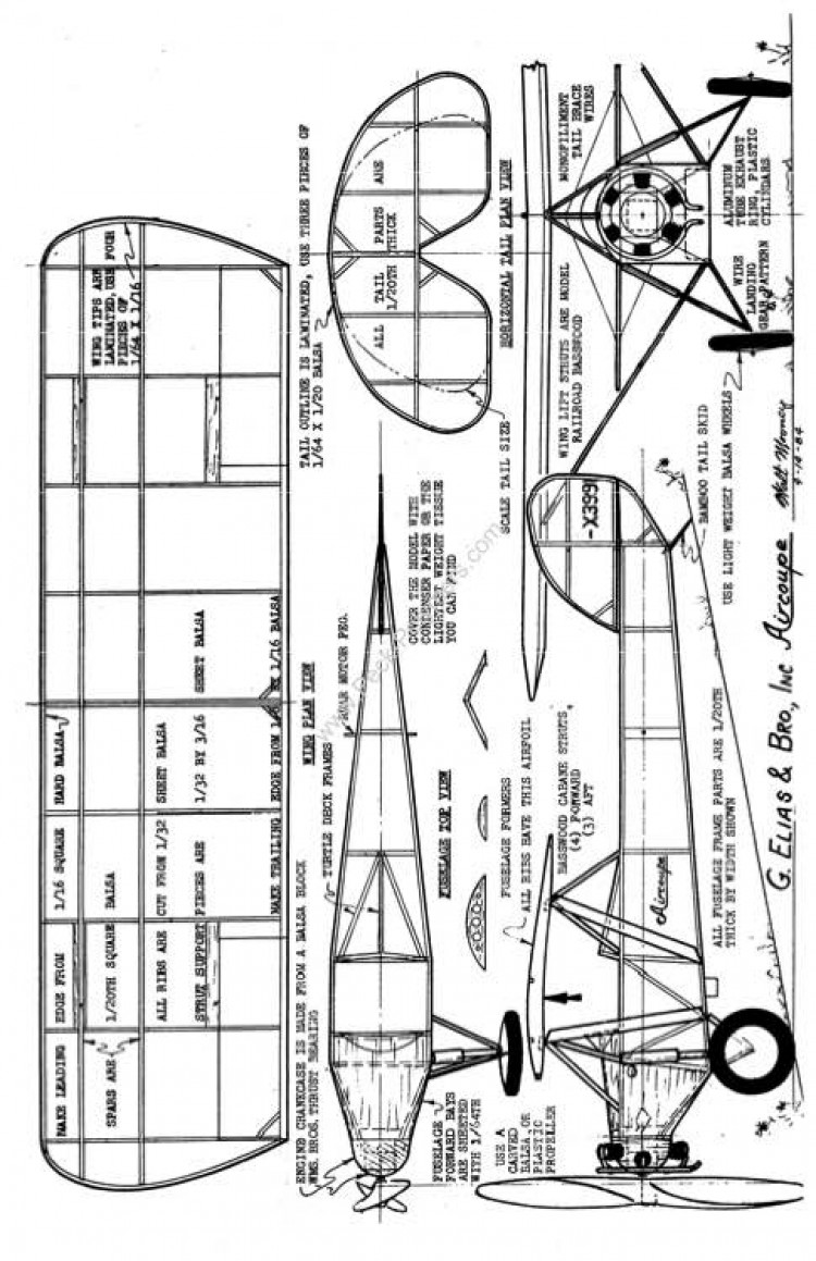 Elias Aircoupe model airplane plan