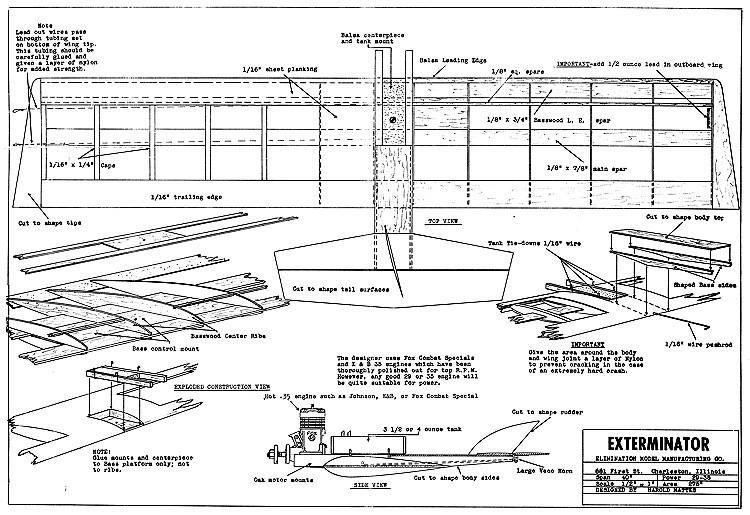 Exterminator CL 40in model airplane plan