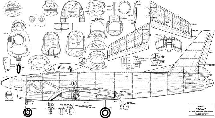 F-86D Sabre 64in model airplane plan