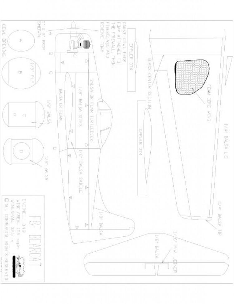 F8F Bearcat Model 1 model airplane plan