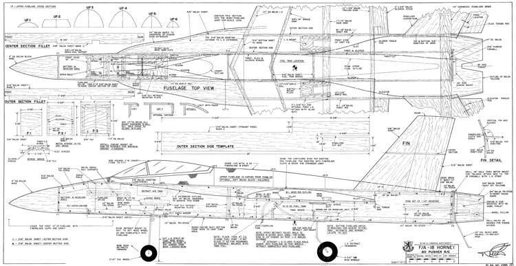 FA-18A Hornet model airplane plan